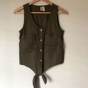 Japna | Button down tie front Sleeveless Top